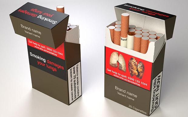 الشكل المقترح لعلب السجائر في بريطانيا (مقتبسة من البي بي سي)